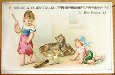 Cat/Kittens 1890 French Trade Card: Epicerie & Comestibles - Mans