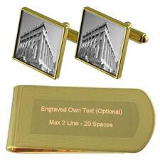 Greece Roman Parthenon Gold-Tone Cufflinks Money Clip Engraved Gift Set