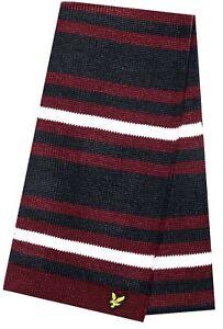 LYLE & SCOTT Mens Womens Unisex Navy Blue Red Striped Logo Winter Scarf