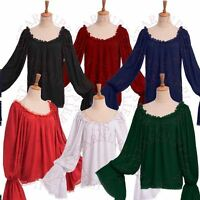 Victorian Wench Pirate Blouse Medieval Off Shoulder Chemise Lady Shirt Top