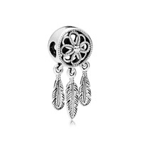 DREAMCATCHER FEATHER SPIRITUAL DANGLE CHARM BEAD 925 STERLING SILVER MOTHERS DAY