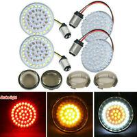 """4pcs 2"""" White Red LED Turn Signal Run Inserts Light + Lens 1157 Bulb For Harley"""