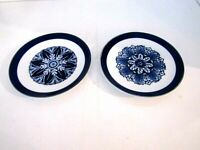 "Bombay Co  Cobalt Blue & White Bread/Dessert/Decor Plates 6"" Set of 2"