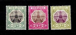 Bermuda stamps #28 - 30, 2 MNH, 1 MH, complete set, VF - XF, SCV $31.50