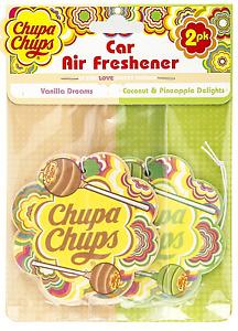 Car Air Freshener Chupa Chups x 2   1 Vanilla Dreams, 1 coconut &pineapple Delig