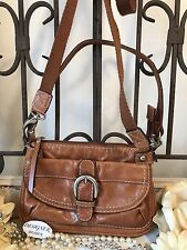 Auth ~FOSSIL ~ Small Leather Cross Body Chestnut Brown GUC!