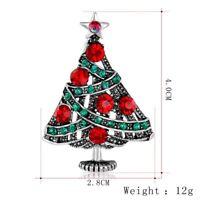New Holiday Christmas Tree Deer Santa Claus Crystal Brooch Pin Custome Jewellery