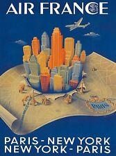 Paris - New York Vintage Airline Airlines Travel Advertisement Art Poster Print