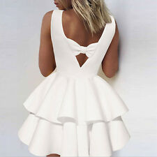 Womens Bowknot Party Cocktail Mini Dress Ladies Summer Sleeveless Skater Dresses