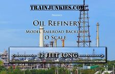 "Train Junkies O Scale ""Oil Refinery"" Model Railroad Backdrop 24X144"""