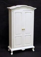 Kleiderschrank weiss 2 Türen 1 Einlegeboden Puppenhaus Möbel Miniaturen 1:12