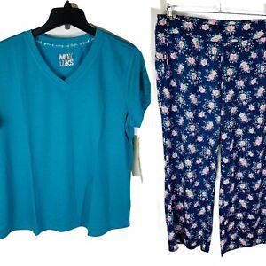 New Muk Luks Womans L Short Sleeve Floral Pant Blue Pajama Set Soft NWT