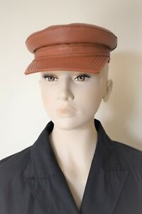 SPORTMAX by MAX MARA , LEATHER Squared Visor Hat