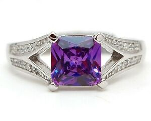 2CT Amethyst & Topaz 925 Solid Sterling Silver Ring Jewelry Sz 9, CO3