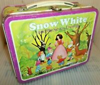 1977 Snow White Metal Lunch Box - RARE VERSION Has Spinner Game Vintage Lunchbox