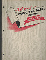 Simonds Saw & Steel Co Wood Cutting Tools Catalog 1950s Saws
