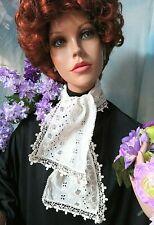"ANTIQUE Victorian SCARF lace JABOT embroidered BATISTE openwork CROCHET 40x6.5"""