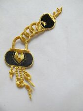 #2211 Gold,Black Love Lock,Key w/Gold Chain Embroidery Iron On Applique Patch