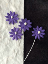20 Flowers tiny Purple Daisy mulberry paper flower miniatures bouquet tear bears