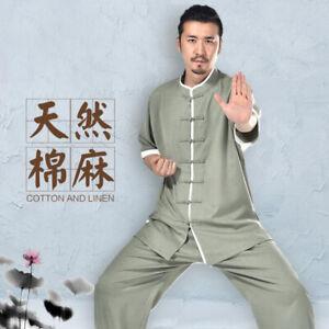Mens Traditional Chinese Tang Suit Martial Arts Uniform Linen Kungfu T-Shirt Set