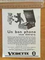 PUBLICITE ANCIENNE - PUB ADVERT - phonographe Vedette dos couverture Mussis