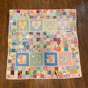 Handmade Baby Patchwork LOVE Angel Floral Gingham Quilt Blanket 37x37