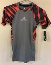 adidas Boys Graphic Shirt L/G 14/16 Orange Black Gray Polyester Spandex NWT