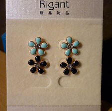 Set van 2 goudkleurige turquoise en zwarte bloem oorbellen wit strass-steentje