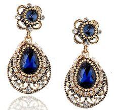 Copper Antique Blue Crystal Dangle Earrings
