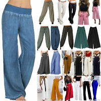 Womens Wide Leg Flared Pants High Waist Ladies Palazzo Loose Trousers Plus Size