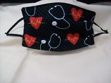 Handmade Cotton Fabric Adult Face Mask Cover Nurse Heart Beat Black and Red