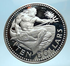 1973 BARBADOS Huge 4.2cm Genuine Proof Silver 10 Dollars Coin w NEPTUNE i77504