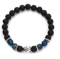 8MM Black lava stone buddha head royal blue beads bracelet elastic bangle cuff