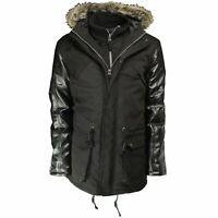 Soulstar Faux Fur Padsy Parka Jacket Mens Warm Hooded Padded Winter Coat Black