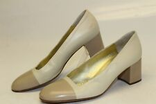 Bruno Magli Italy Made Womesn 6.5 B Beige Leather Cap Toe Pumps Heels Shoes