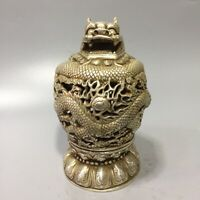 China Dynasty Old tibet Silver Hollow out Loong dragon statue Incense Burner pot