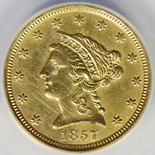1857 $2.5 Liberty Gold Quarter Eagle ANACS AU50 Mounts Removed