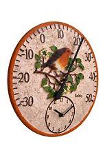Outdoor indoor Garden Wall Clock thermometer 12 inch Bird Robin design