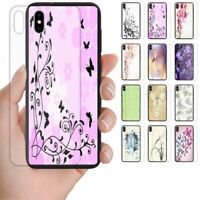 For Huawei Series Butterfly Print Theme Tempered Glass Back Case Phone Cover #2