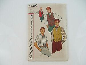 """Vtg SIMPLICITY PATTERN #4160 Men's Vest Shirt Uncut Chest 36"""" Neck 14 1/2"""""""