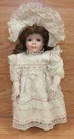 """Dynasty Doll Collection - 15"""" Porcelain Doll With Vintage Style Dress & Stand!"""