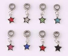 10pcs mix LAMPWORK CZ big hole spacer beads fit Charm European Bracelet #C598