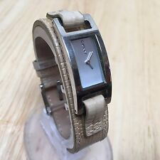 Clean Vintage DKNY Lady Leather Rectangle Analog Quartz Watch Hours~New Battery
