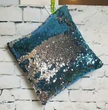 Youth Reverse Sequin Sky Blue and Silver Pillow ( 35 x 32 ) 100%Polyester