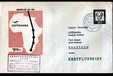 1° VOL Ligne AERIENNE Oblitération postale AEROPORT ,FRANKFURT KHARTOUM (SOUDAN)