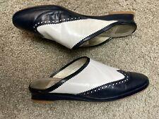 Vintage Joan & David Navy / White Leather Wingtip Mules Slip-Ons Women's Sz 8.5M