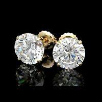 2.00CT Round Cut wedding Diamond 14K Yellow Gold Finish Screw Back Stud Earrings