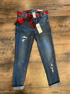 NWT! JUSTICE Girls Jeggings with Red/Black Plaid Ribbon Belt, Distressed, Size 6