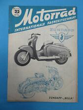 Fachzeitschrift MOTORRAD Heft 22-1953 ZÜNDAPP ROLLER BELLA PUCH R125 HOREX 350