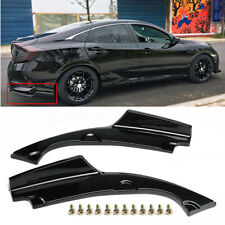 FOR 2016-2019 HONDA CIVIC 2PC REAR BUMPER LOWER SIDE SPLITTERS APRON VALANCE